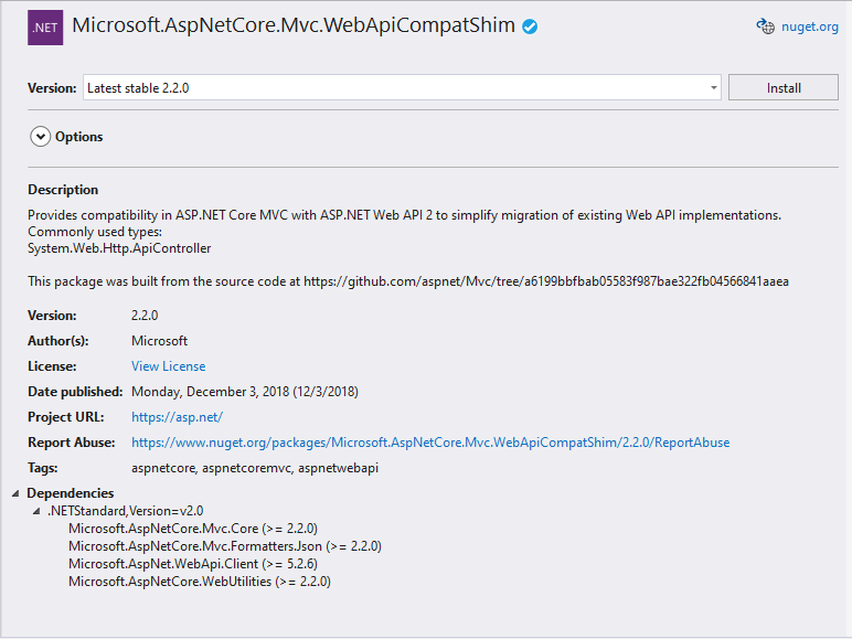 Microsoft.aspNetCore.Mvc.WebApiCompactShim